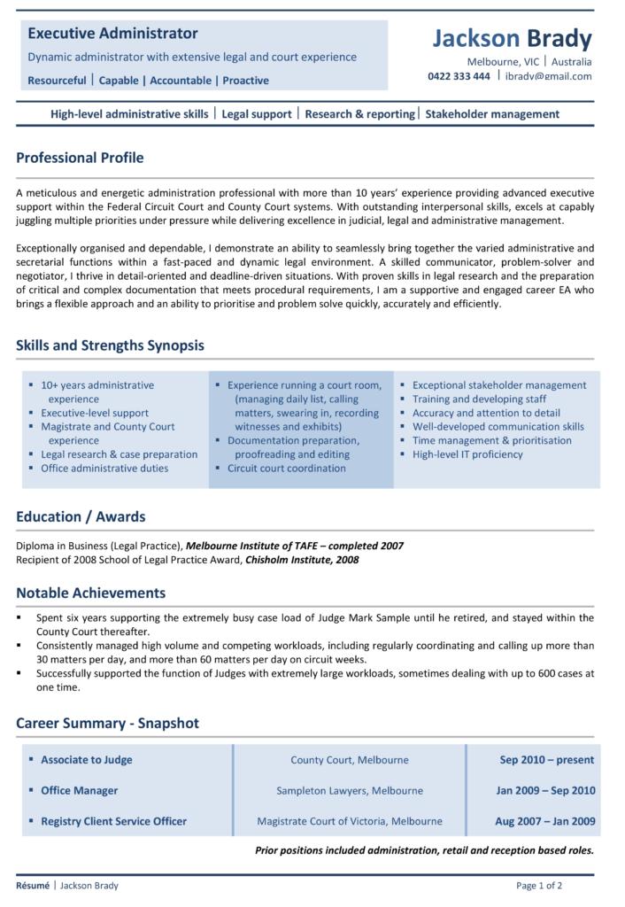 Alpha Resumes Signature Sample Resume Page1